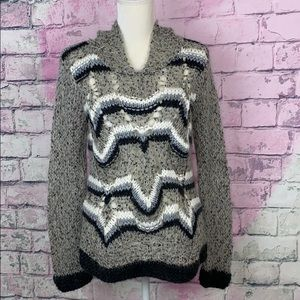 Lumiere open knit pullover sweater with hood M